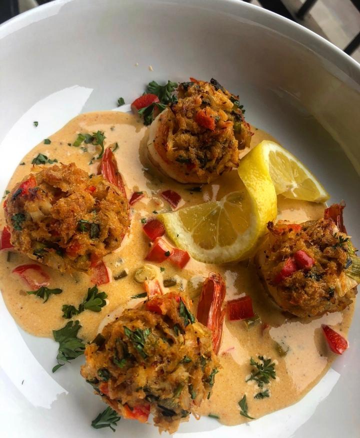 Crab Cake Stuffed Shrimp w/ Cajun CreamSauce